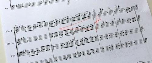 クレッシェンドを楽譜にメモ